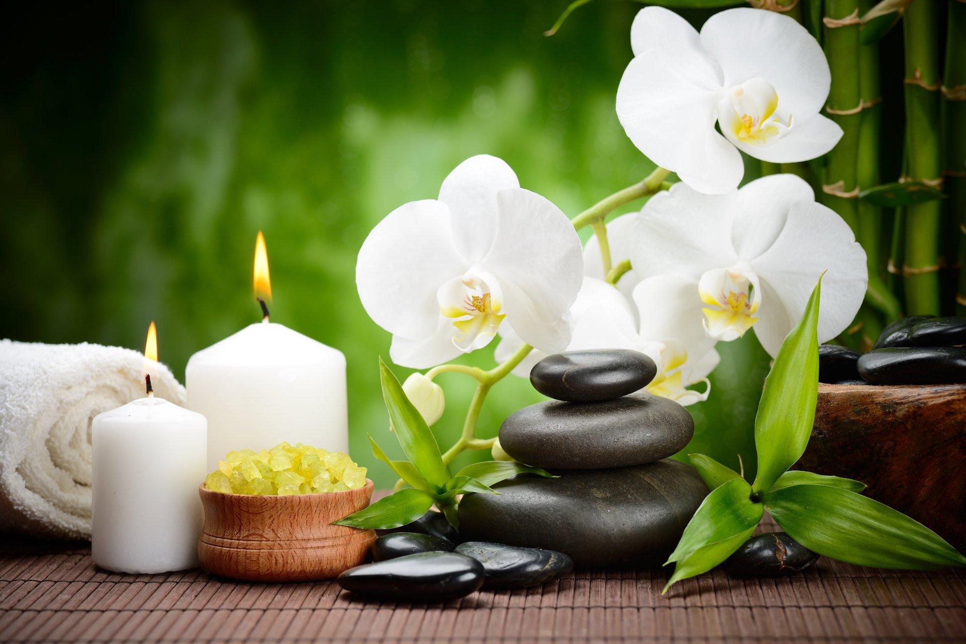 камни черные массажные спа цветок орхидея бамбук свечи ...
