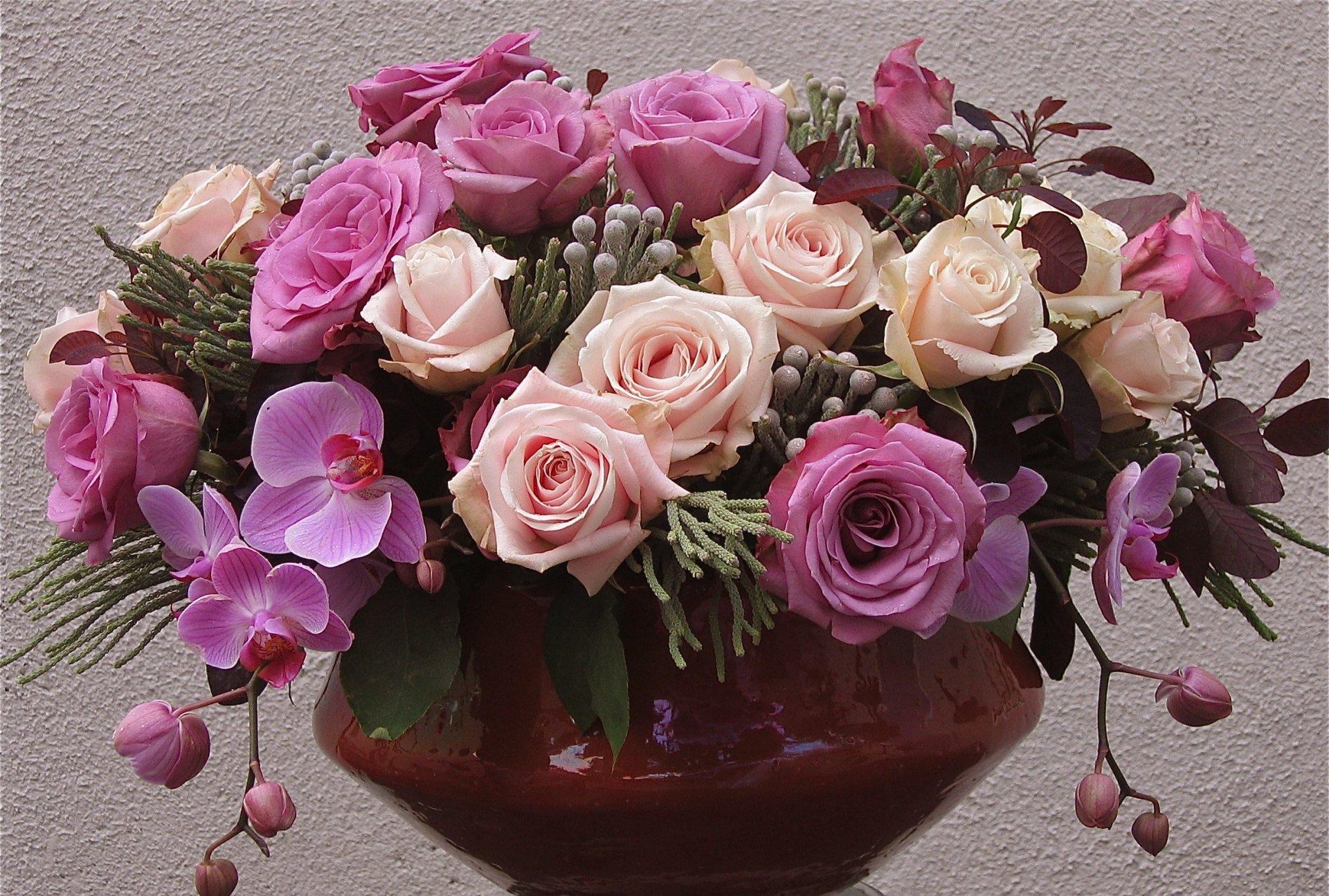 Открытка живых цветов