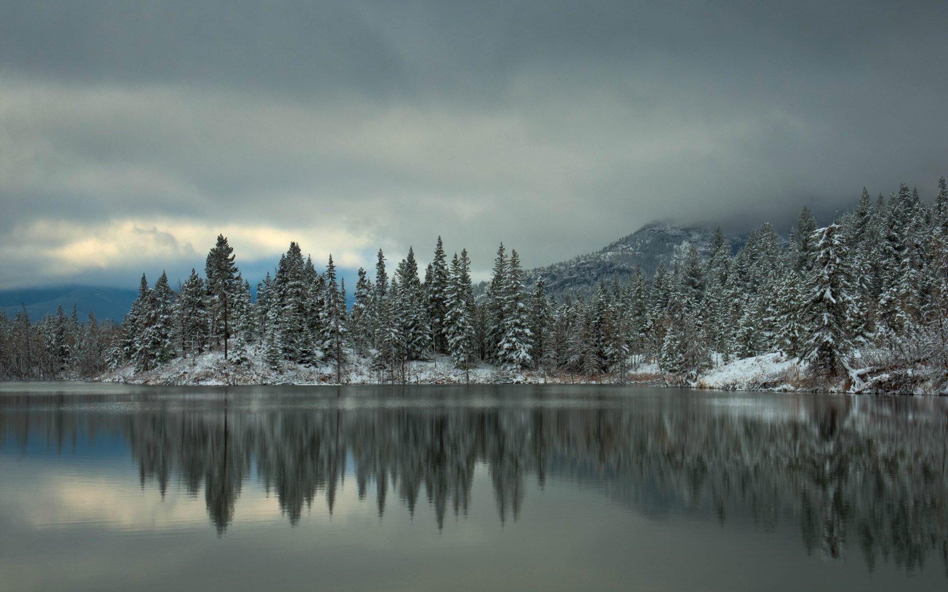 картинки зимнего озера в лесу