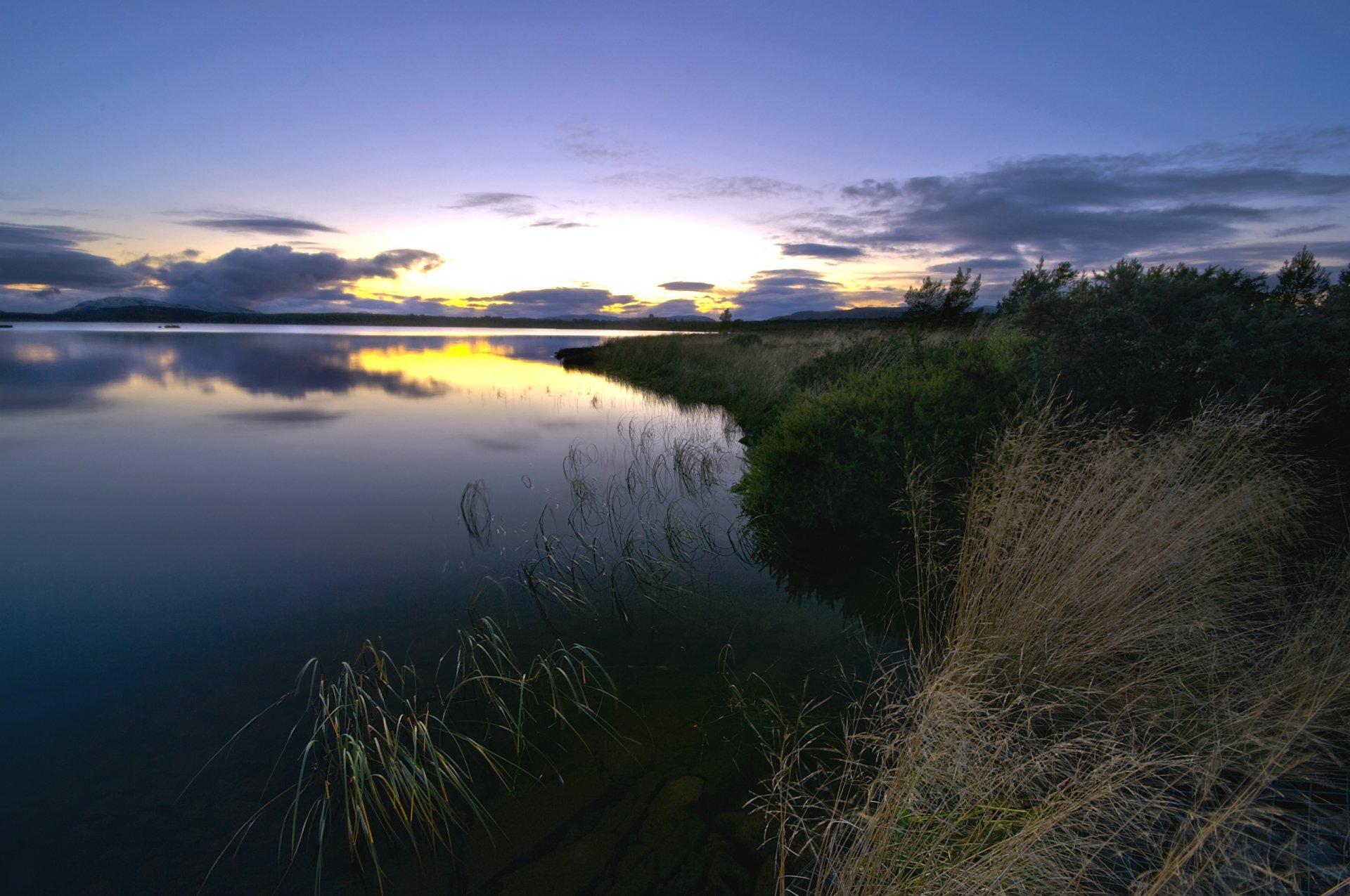 закат озеро небо трава  № 3878817 загрузить