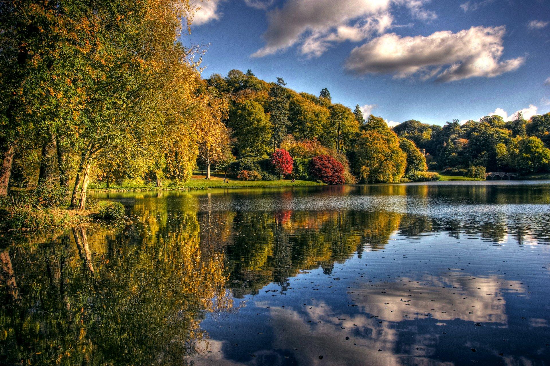 речка осень лес лучи скачать