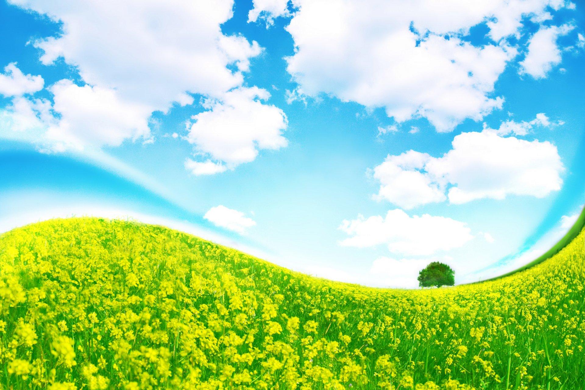 картинки с полянами и облаками