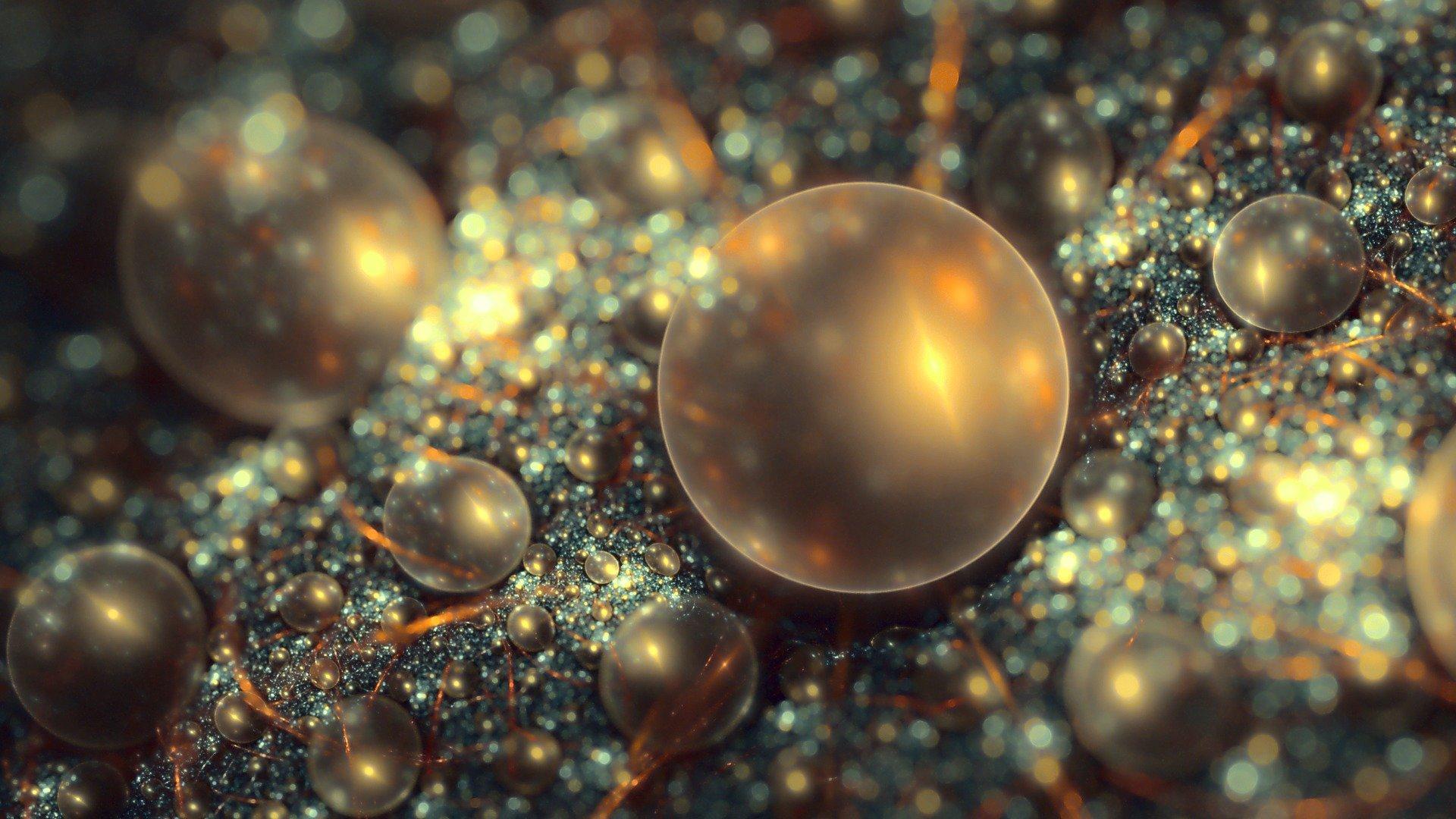 Стеклянные шары, отражение, коричневый фон онлайн