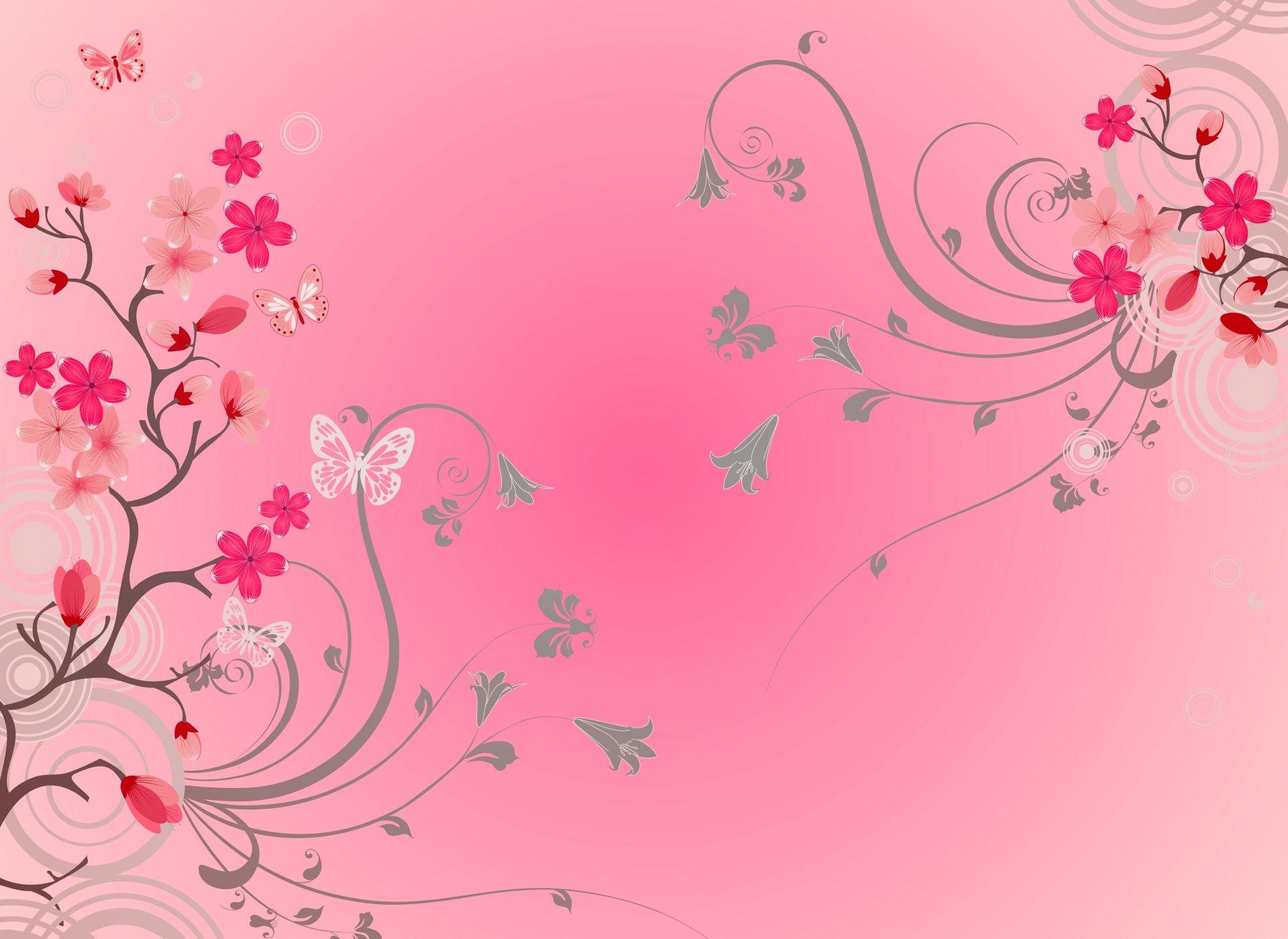 Розовый фон с цветочками