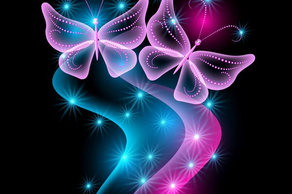 neon butterflies abstract blue pink sparkle glow бабочки неоновые