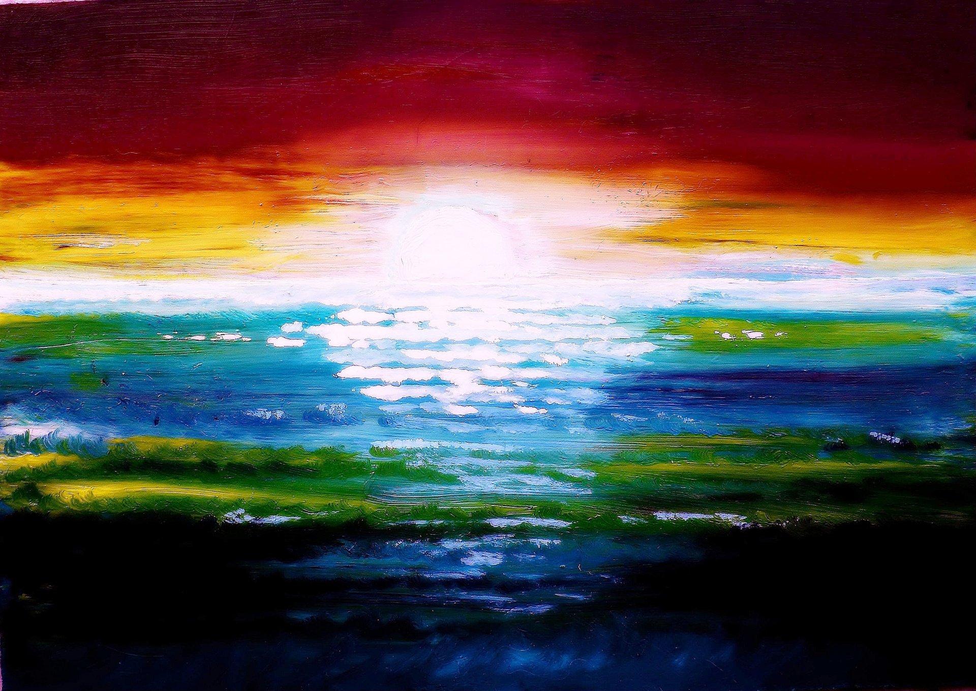 Рассвет рисунки красками