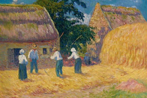 Henri Moret Threshing of Grain Обмолот зерна картина жанровая мототьба двор стог дом люди