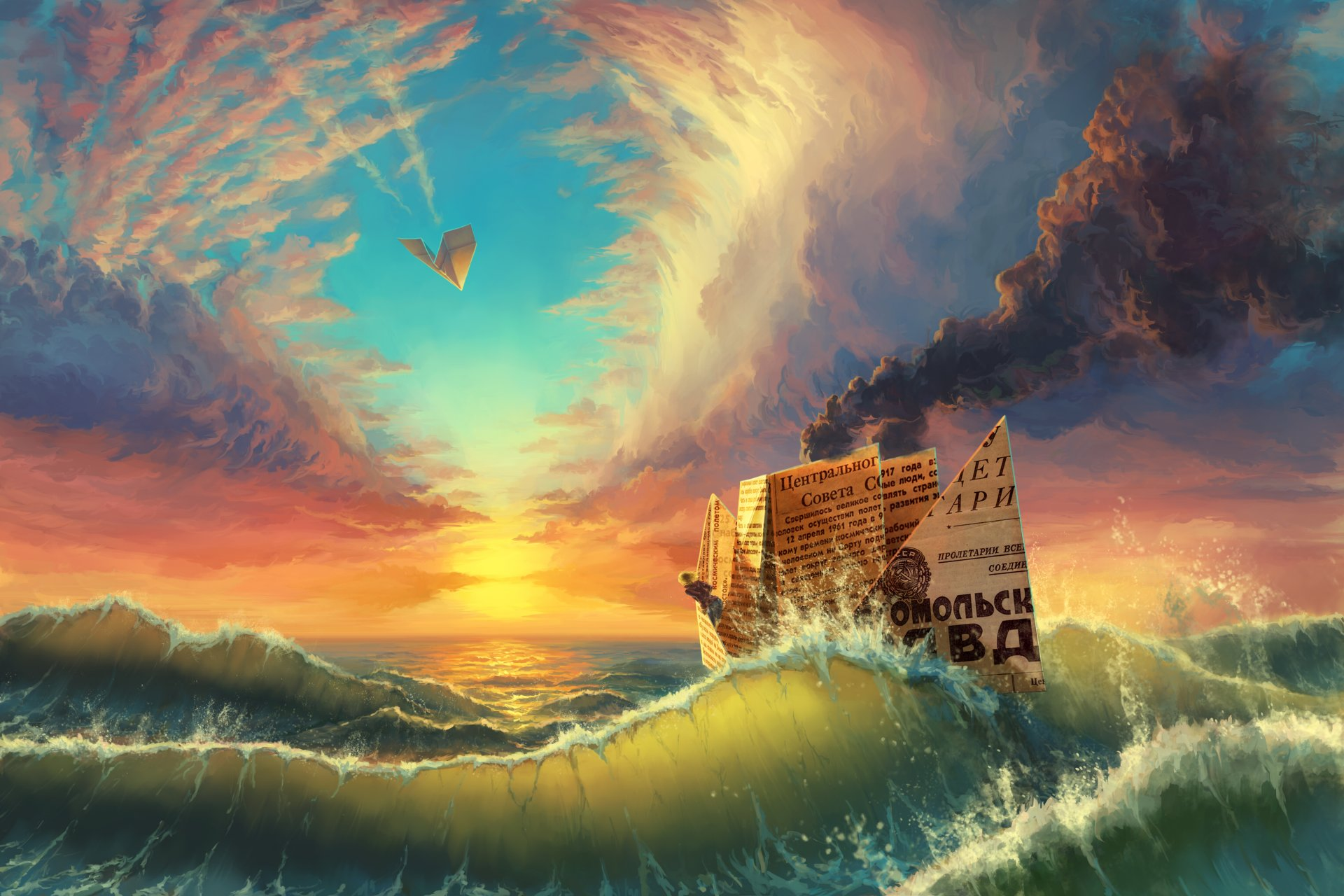 картинки фэнтези небо и корабль под