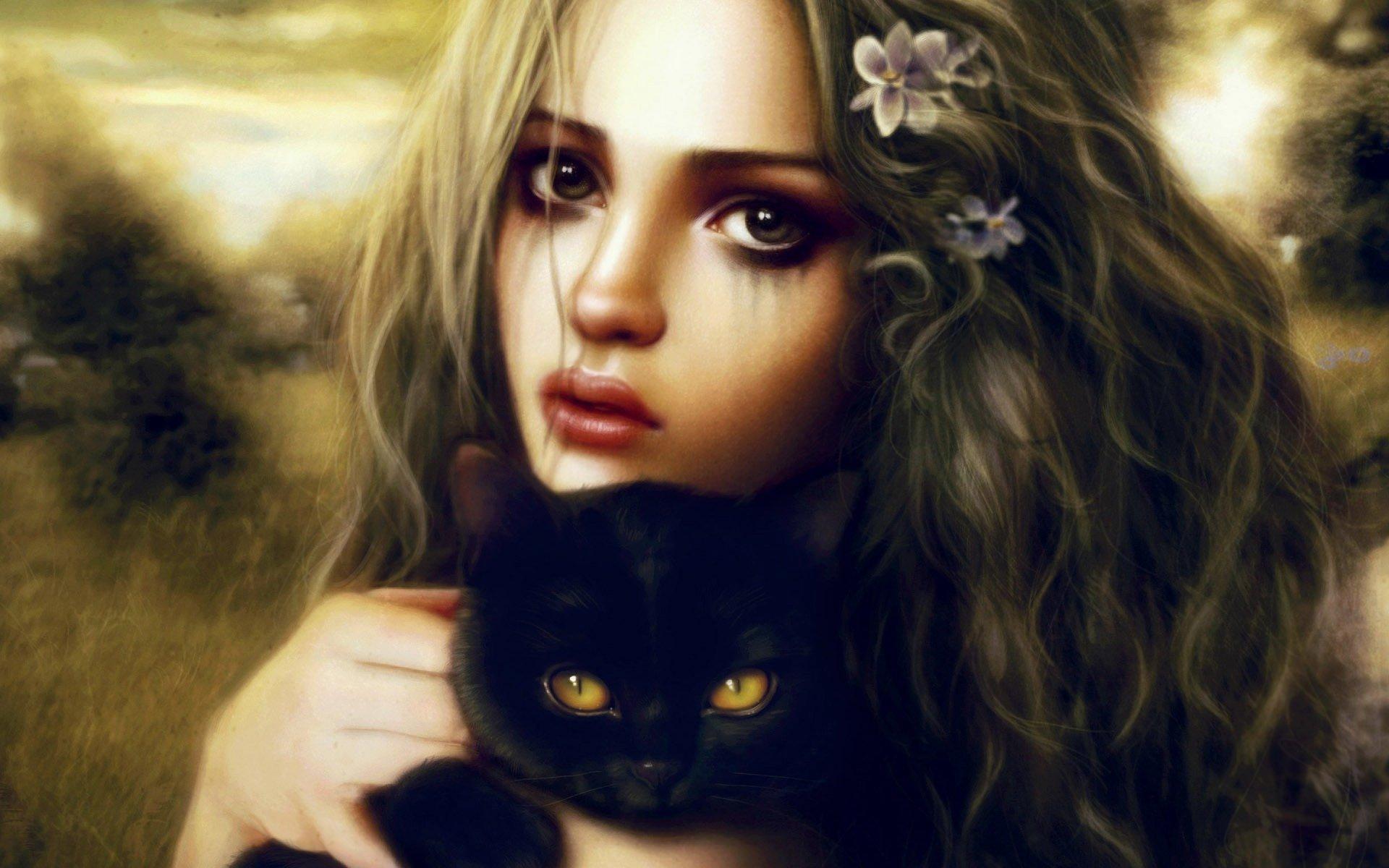 Картинки красивые девушки нарисованные с кошкой
