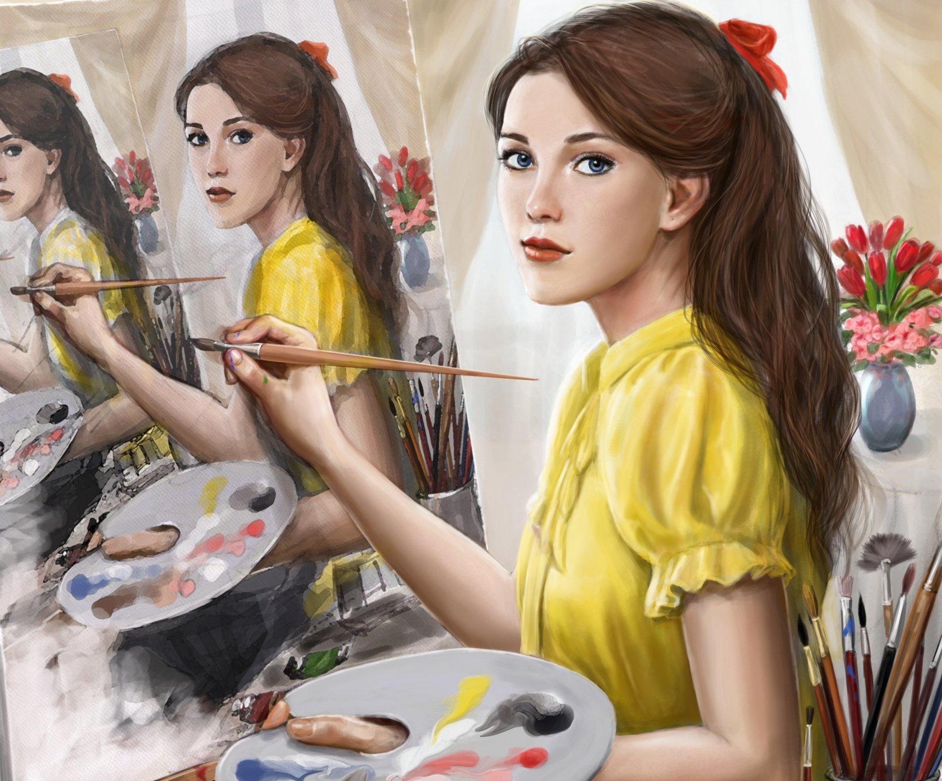вечера профессиональные рисунки девушек хорошо