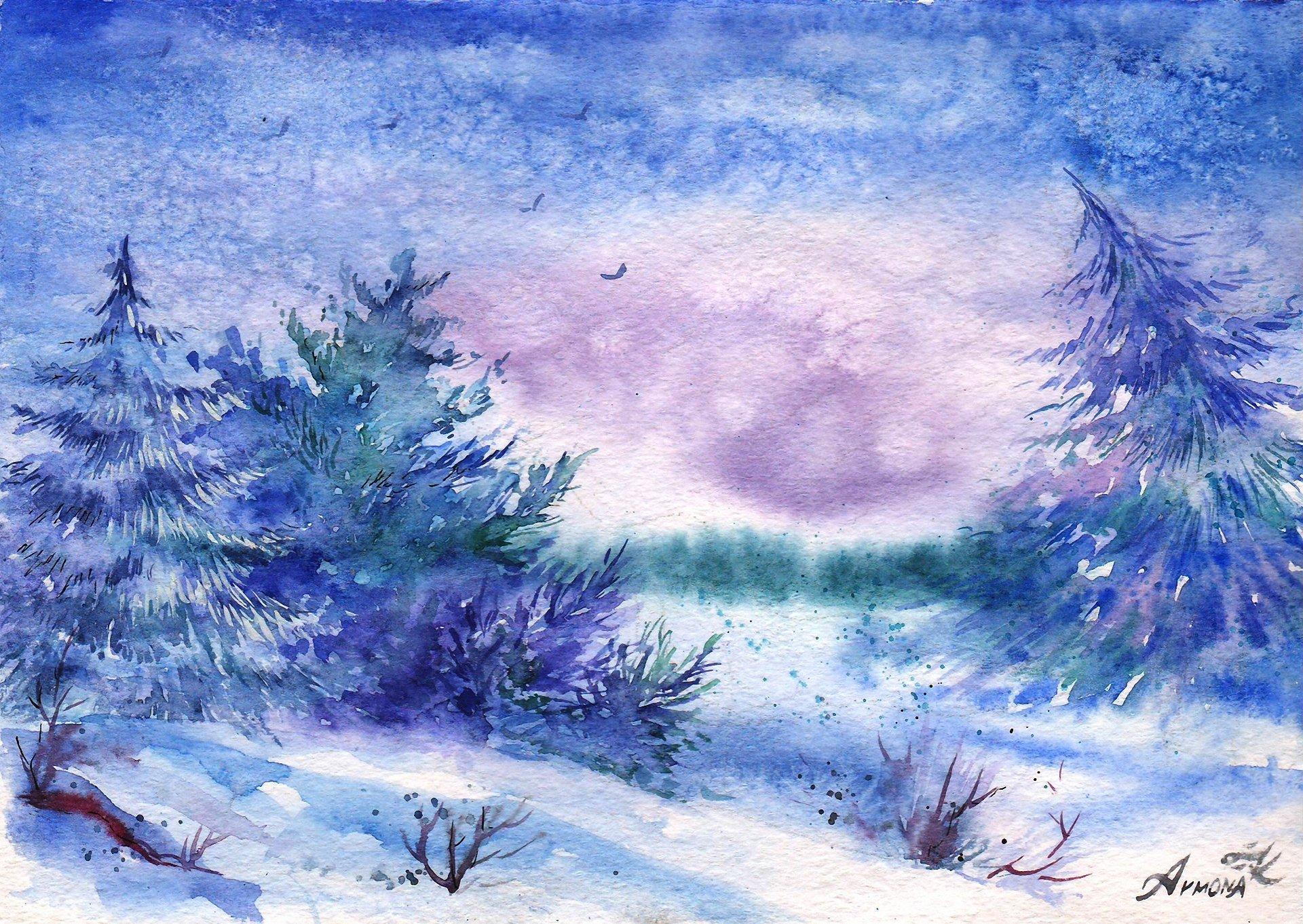 Зимний пейзаж акварель как рисовать