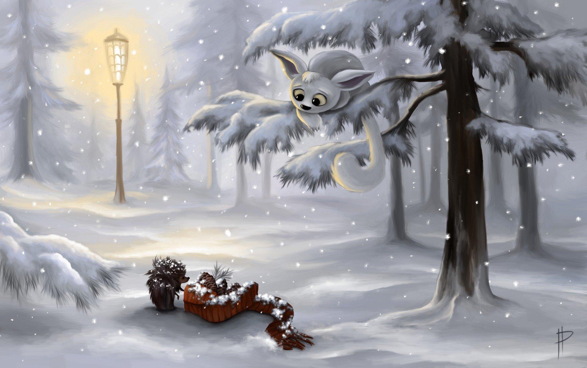 арты зимы утром естественный спутник