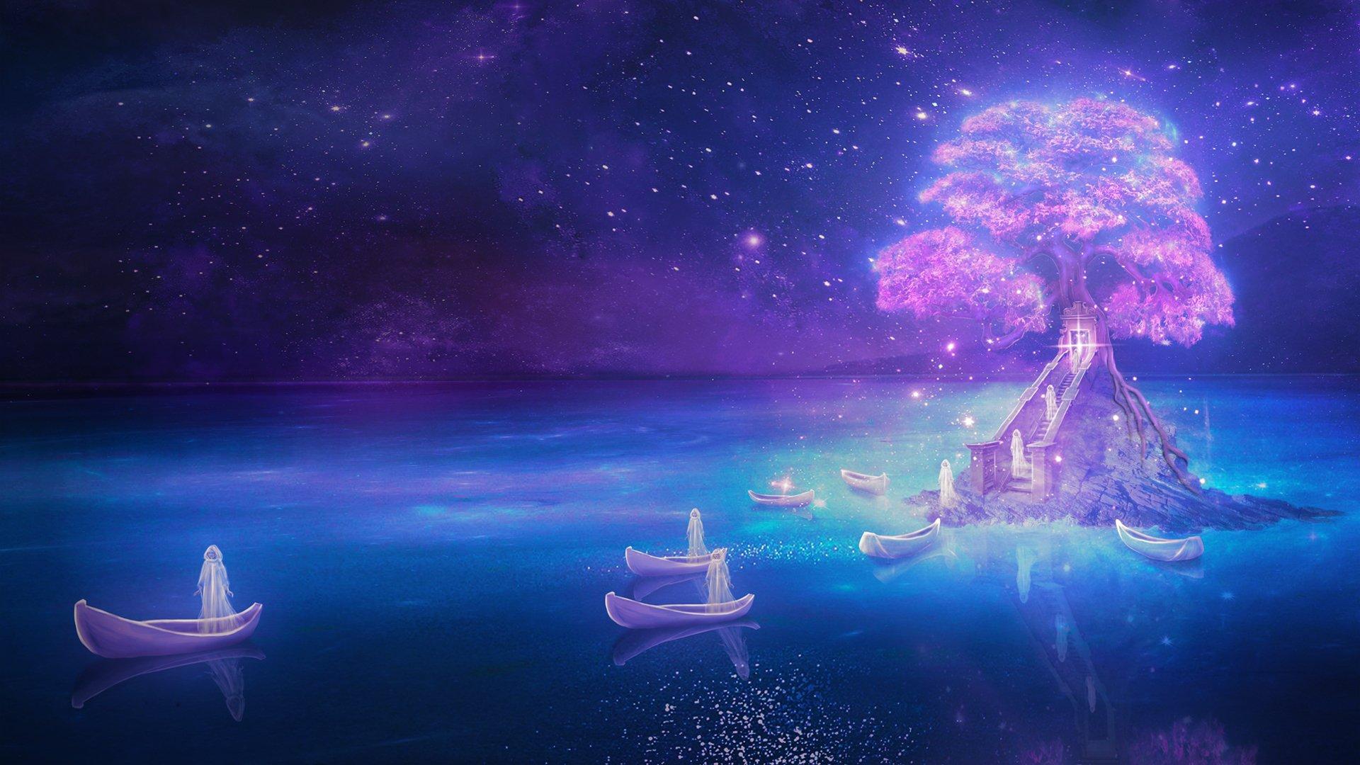 Обои рисунок, Вода, лодки, ночь, свет. Разное foto 8