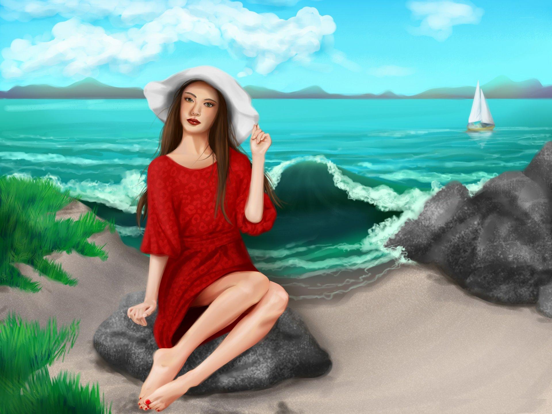 Машинка, красивые анимации картинки девушек на море
