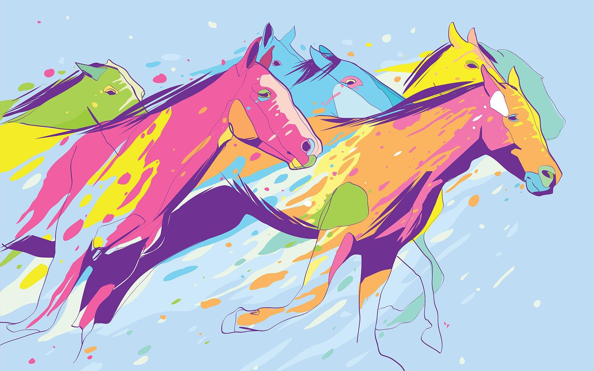 Обои пламя, лошадь, Цвет, грива. Абстракции foto 15