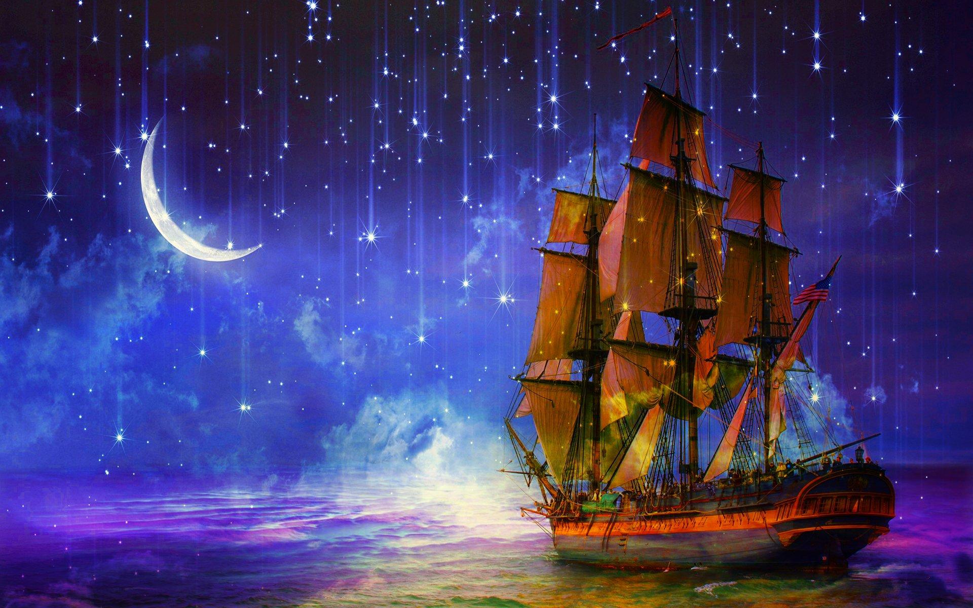 ночь яхта корабль  № 3498329 бесплатно