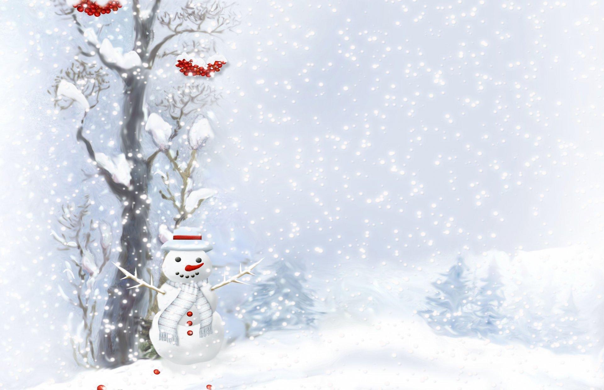 Открытка с новым годом со снегом