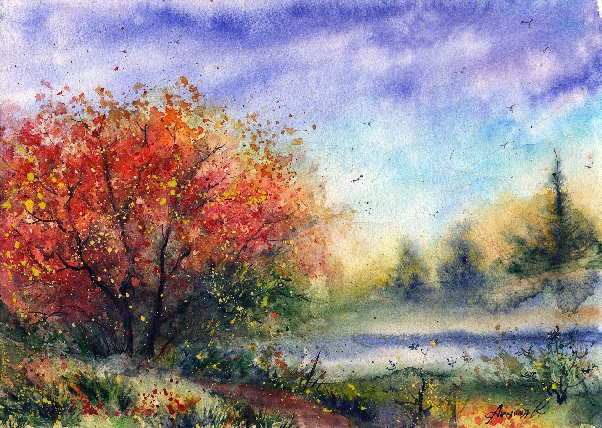 Картинки нарисованные красками природа