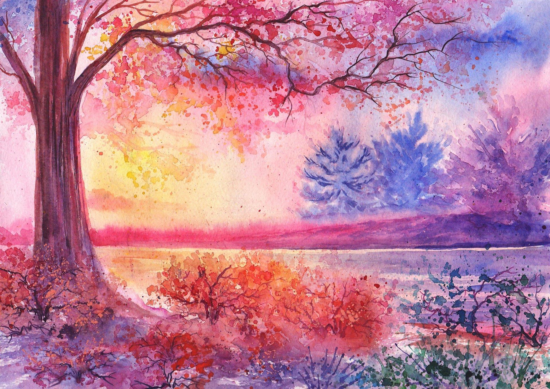 Нарисованные картинки красками легкие и красивые