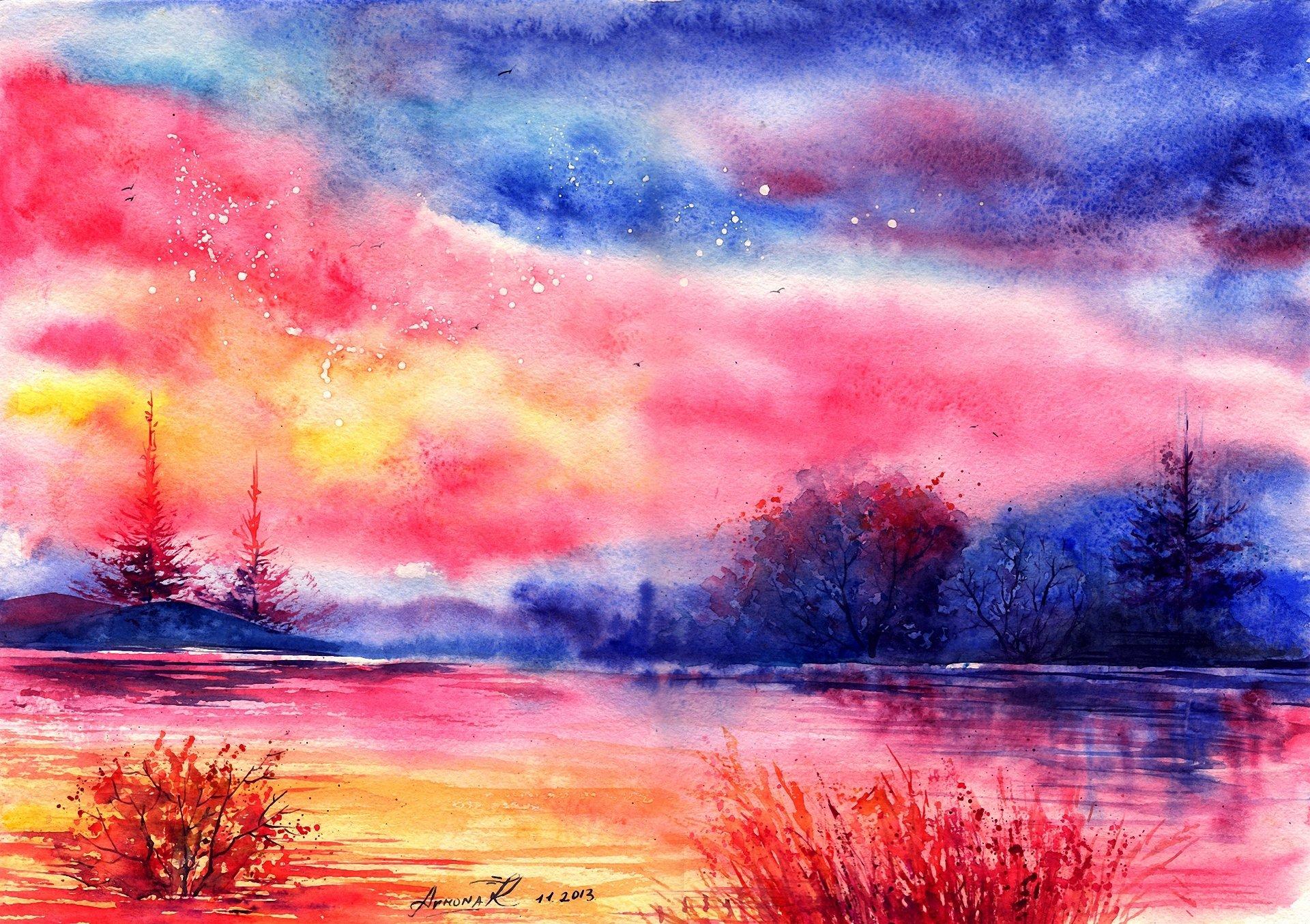 Пейзаж картинки нарисованные акварелью