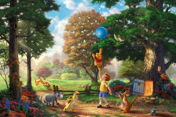 Thomas Kinkade Winnie-The-Pooh and All All All The Disney dreams collection 50-th anniversary Alan Alexander Milne art Winnie-the-Pooh Christopher Robin wood trees flowers Томас Кинкейд Винни Пух и Вс