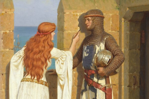 Edmund Blair Leighton English painter romanticism Pre-Raphaelite Middle Ages The shadow picture love castle fortification wall drawing maiden knight armor Эдмунд Блэр Лейтон английский художник романт