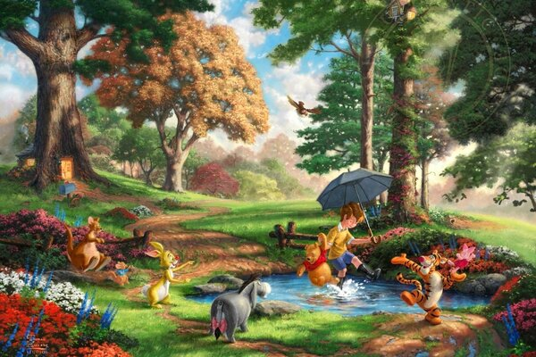 Thomas Kinkade Winnie-The-Pooh and All The Disney dreams collection 50-th anniversary Alan Alexander Milne art Winnie-the-Pooh Christopher Robin wood trees flowers Томас Кинкейд Винни Пух и Все-все-вс