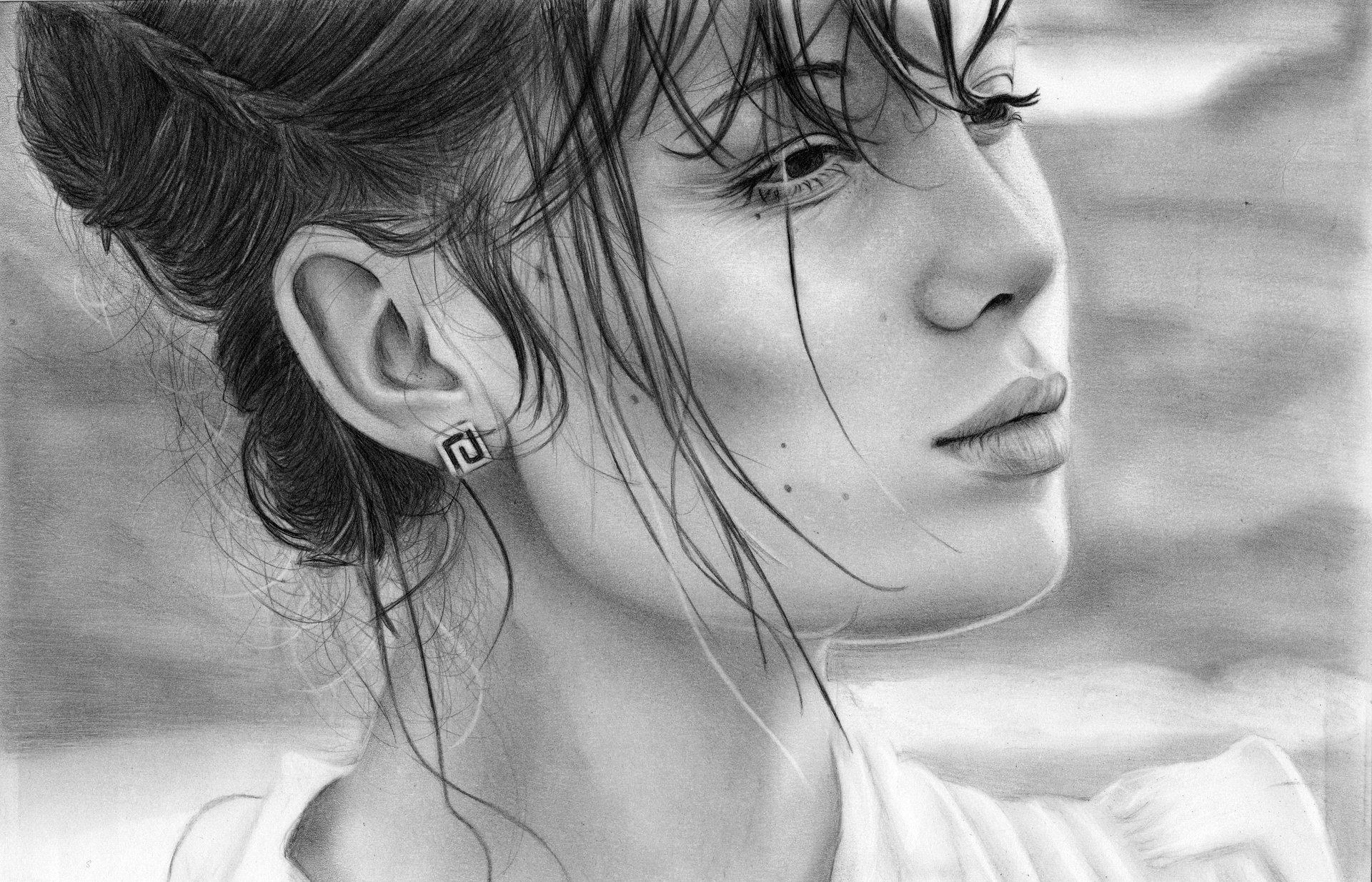 Картинка девушка, бокал, креатив, рисунок, арт, искусство