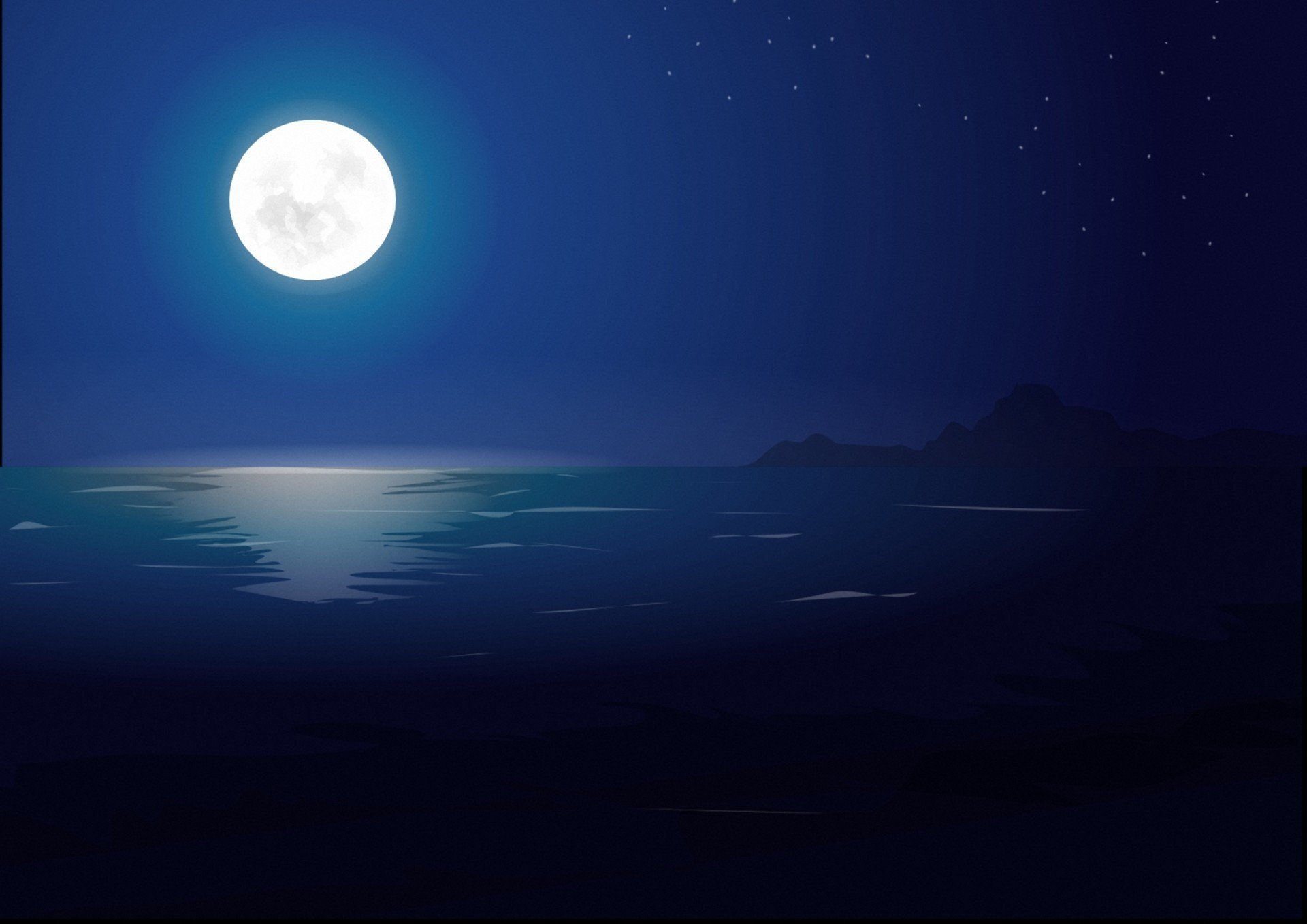 ночь луна море night the moon sea бесплатно