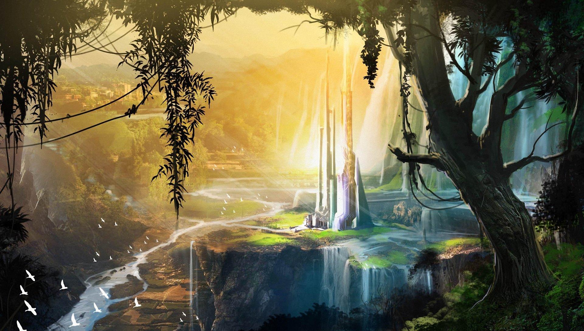 картинка дерево с водопадом что пить
