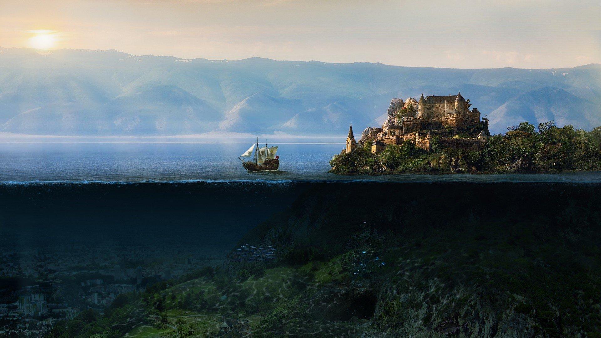 холм корабль город подборки