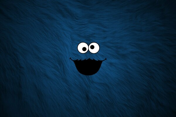 мех рожа синий cookie monster