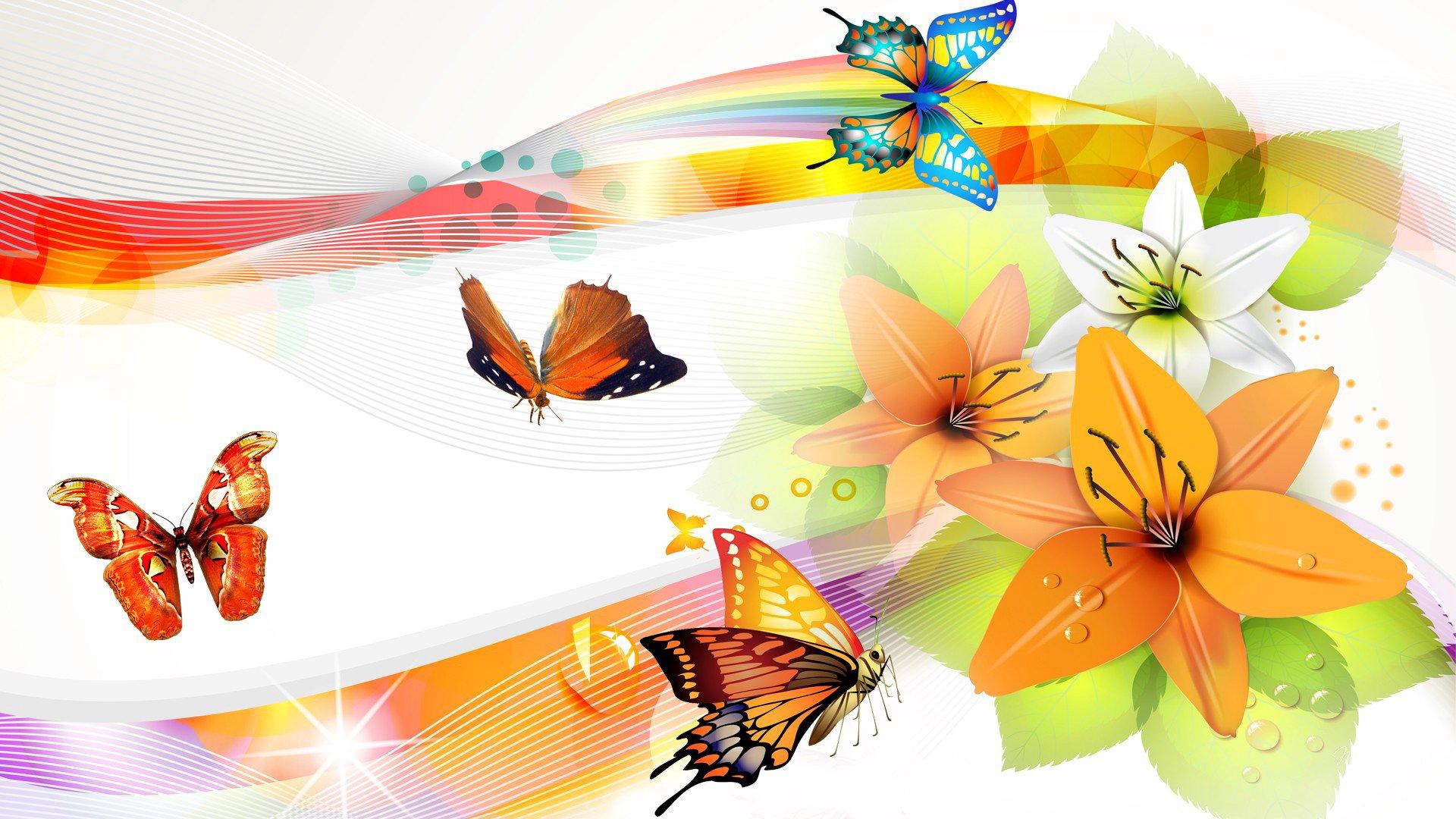 Обои Коллаж, крылья, цветы. Разное foto 11