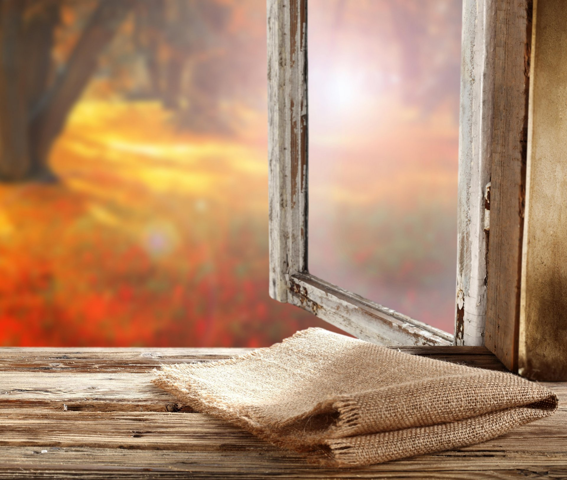Обои подоконник, окно, осень, мешковина. Разное foto 11