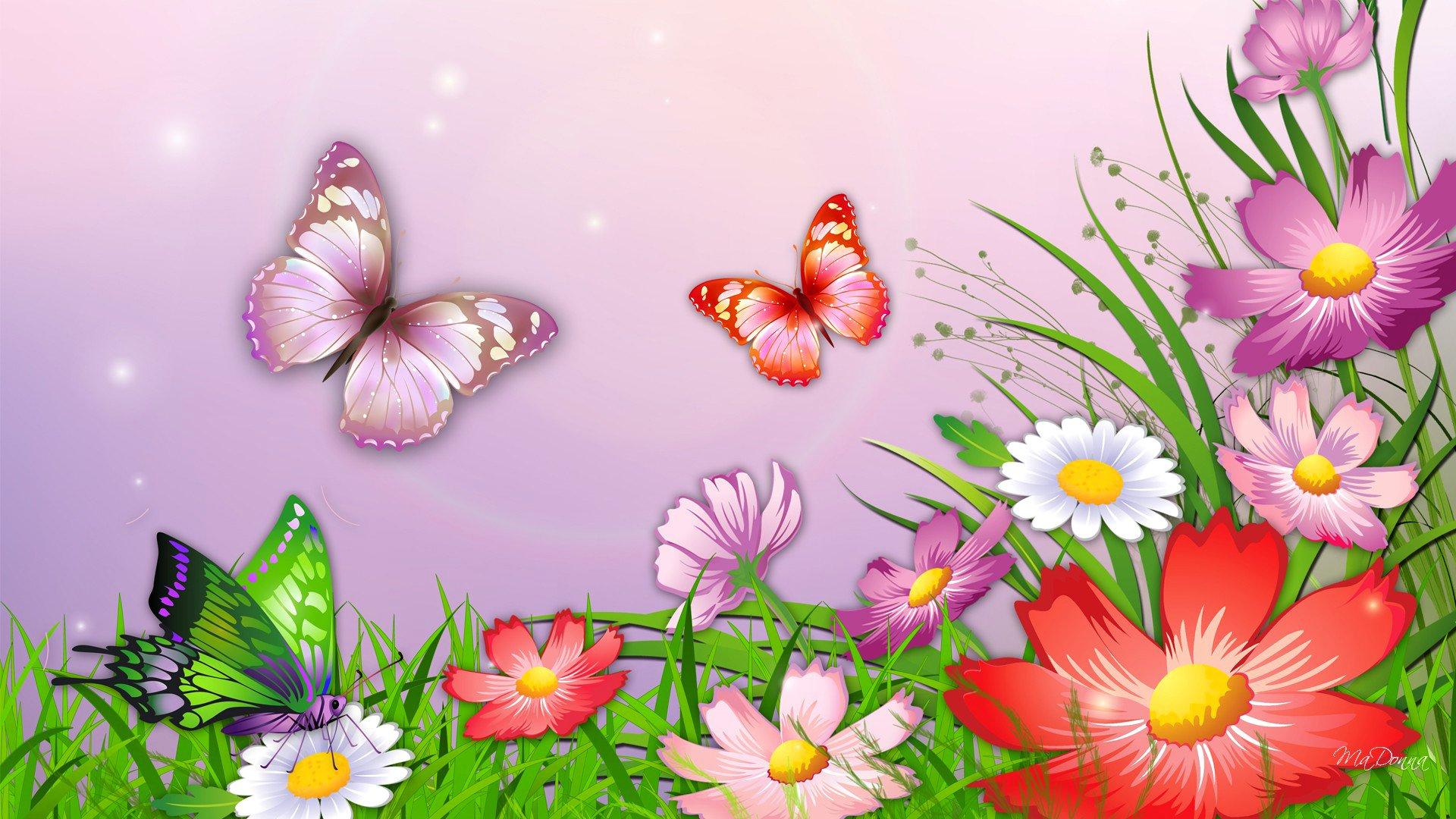 Обои мотылек, цветы, Коллаж. Разное foto 16