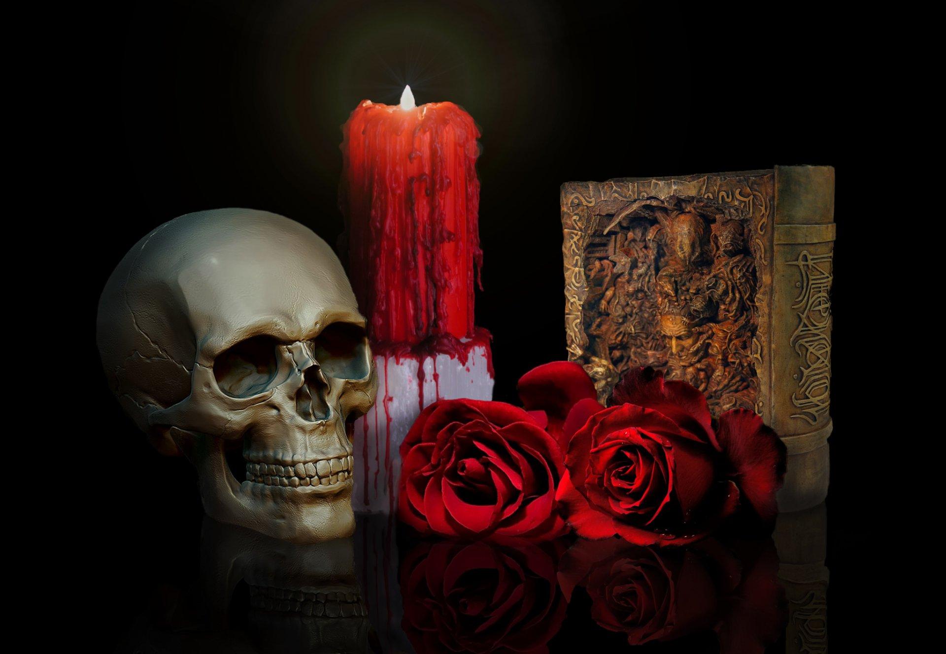 Обои цветы, череп, пламя, кулон. Разное foto 13