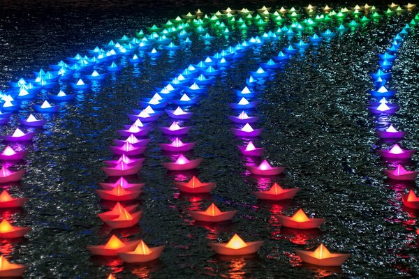 Rainbow Boats Lights Paper Boats Colors