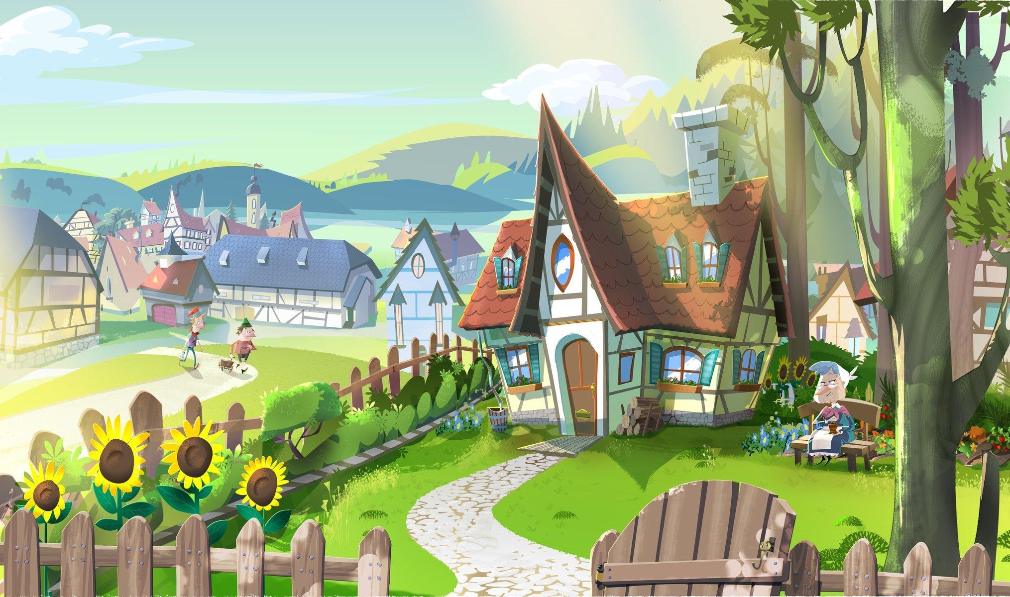 Обои дома, высота, городок, крыши, строение, вид, скала. Города foto 10