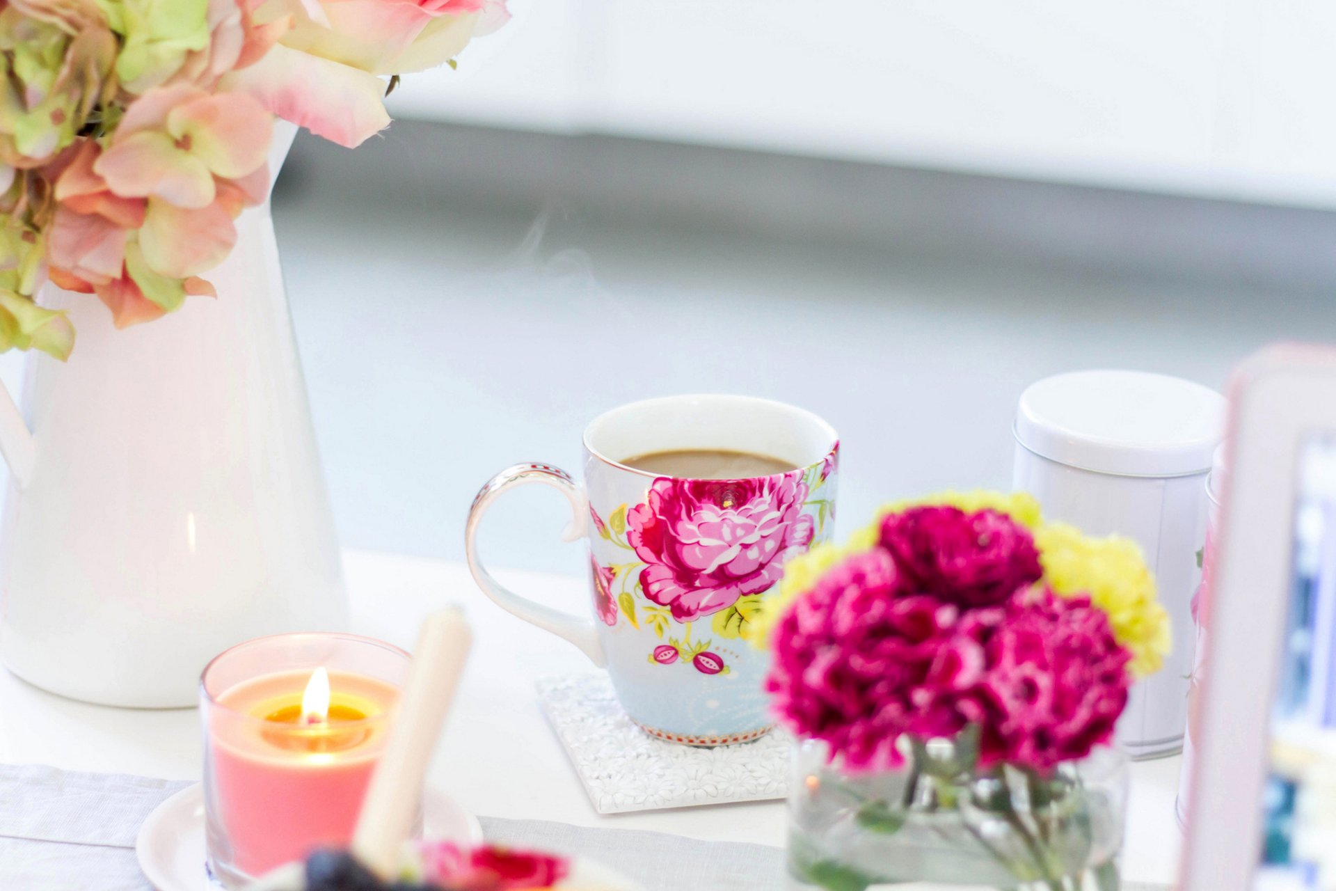 Картинки свечи цветы чашка кофе