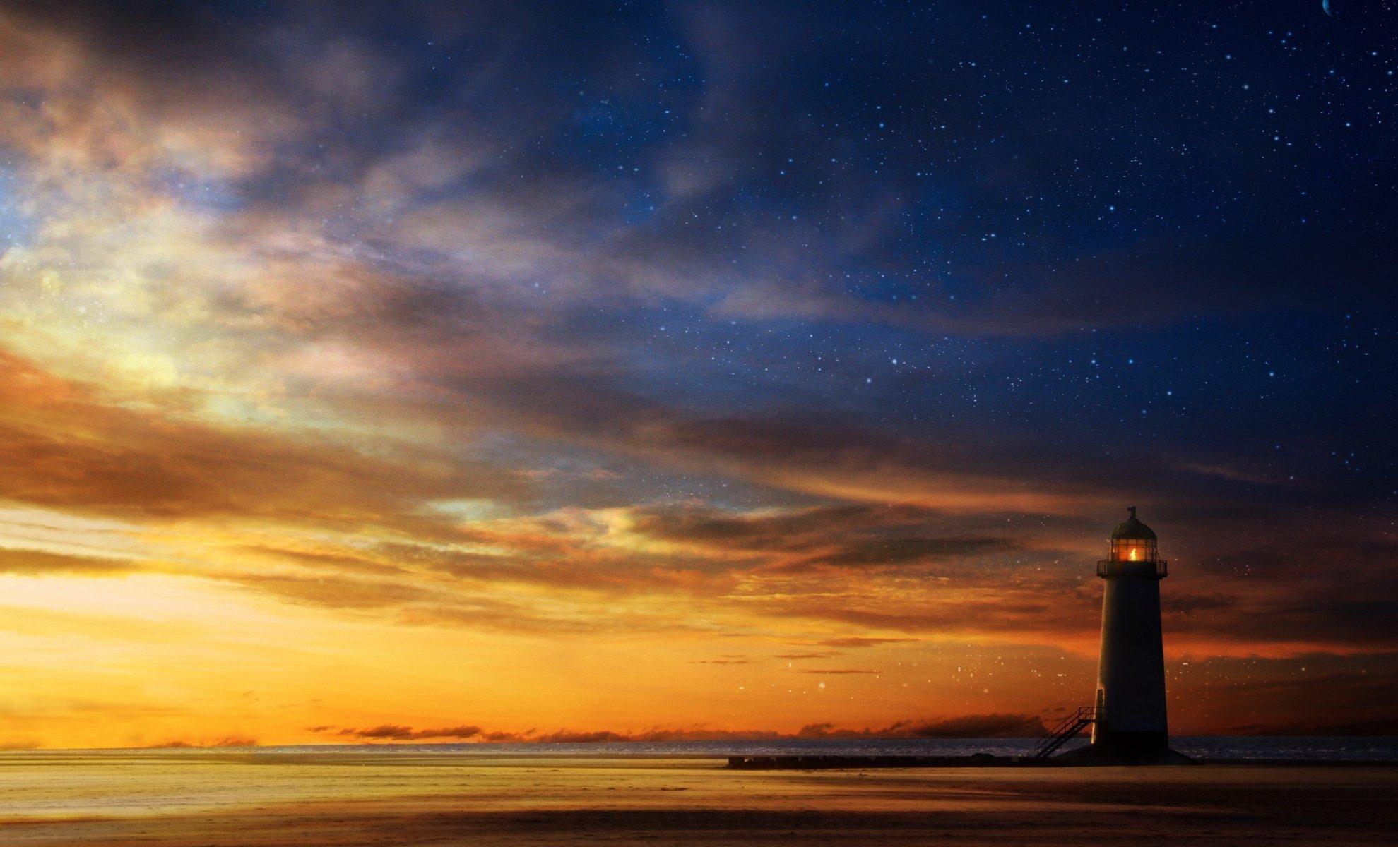 закат маяк море  № 1019874 без смс