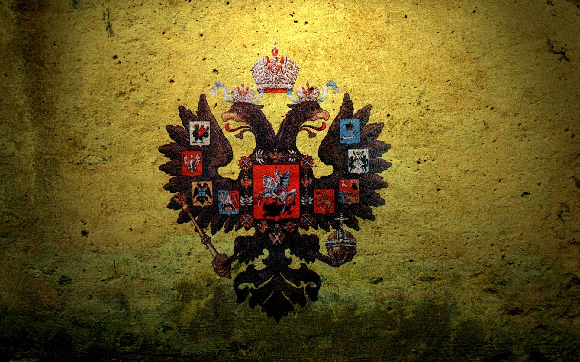 Обои для рабочего стола российский флаг с гербом скачать