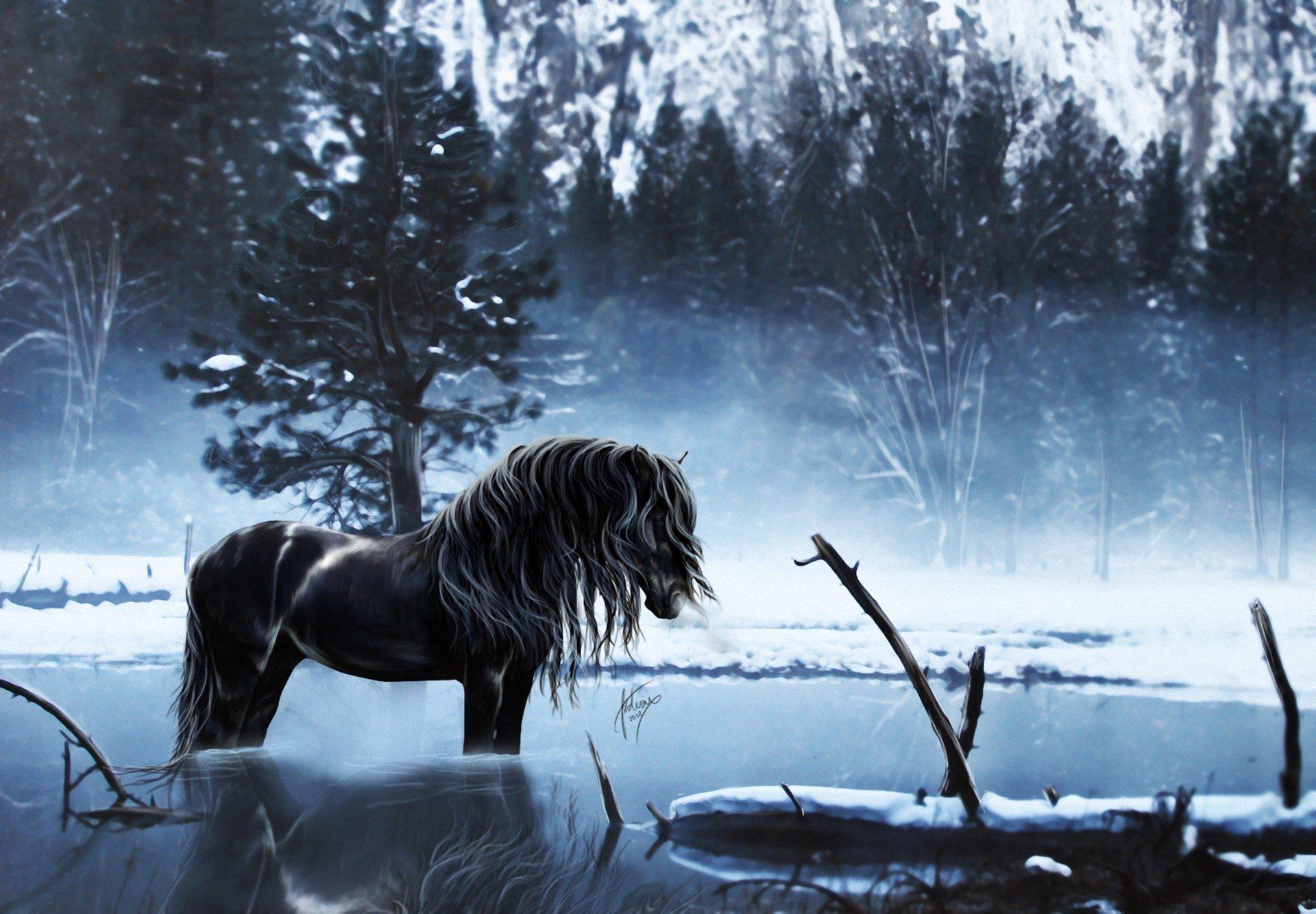 Коричневые лошади у дерева скачать