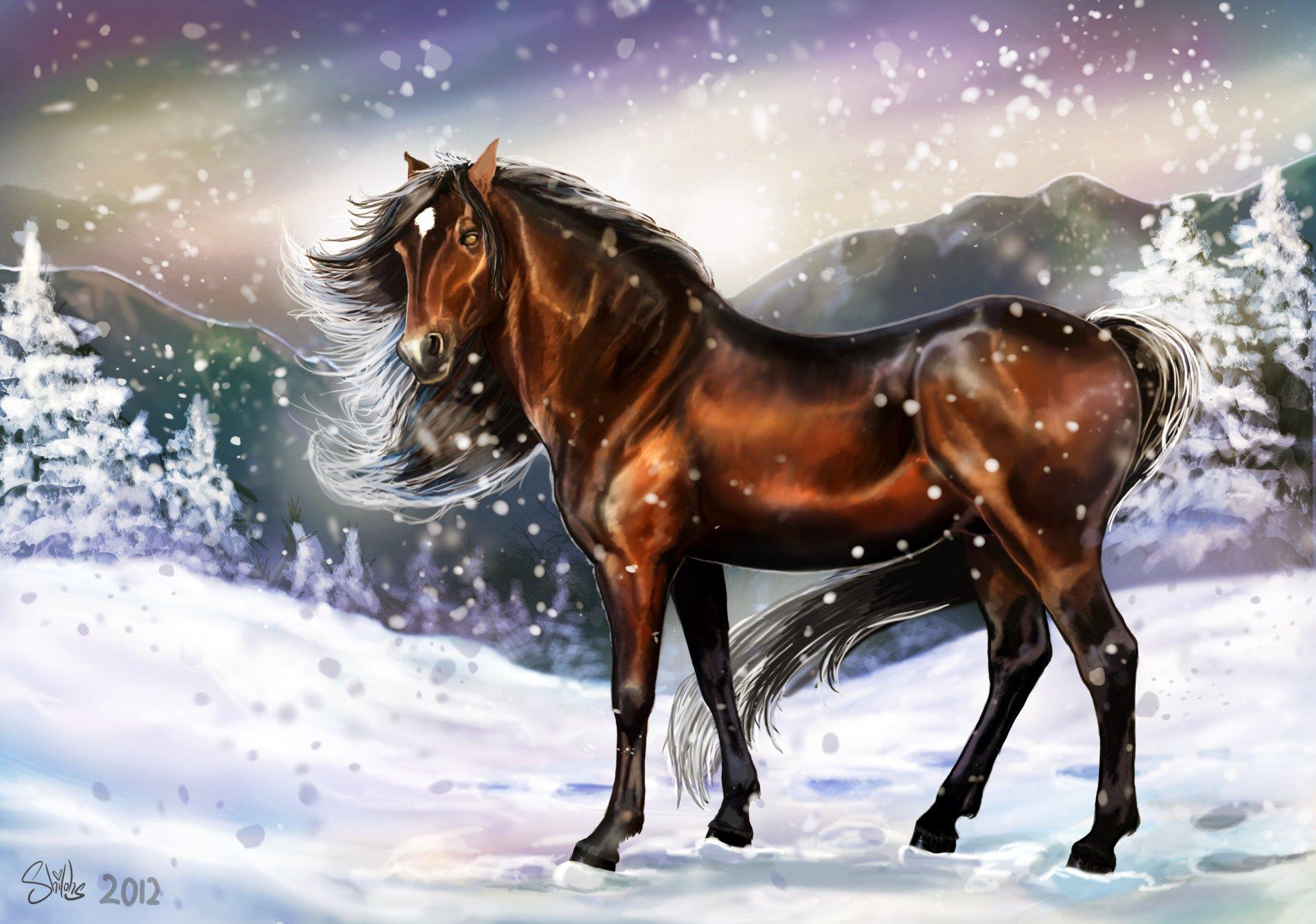 Днем рождения, открытка новогодней лошади