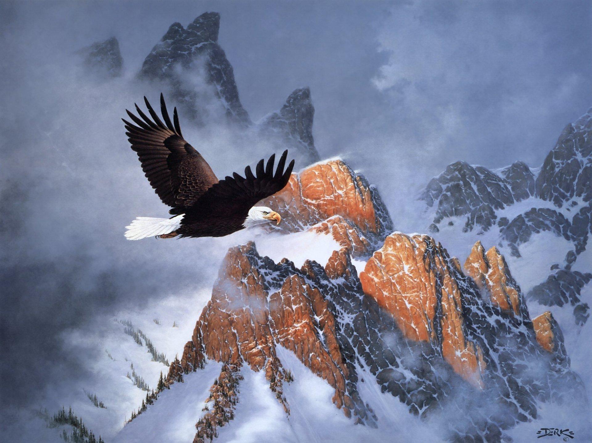 Орел над горными хребтами бесплатно