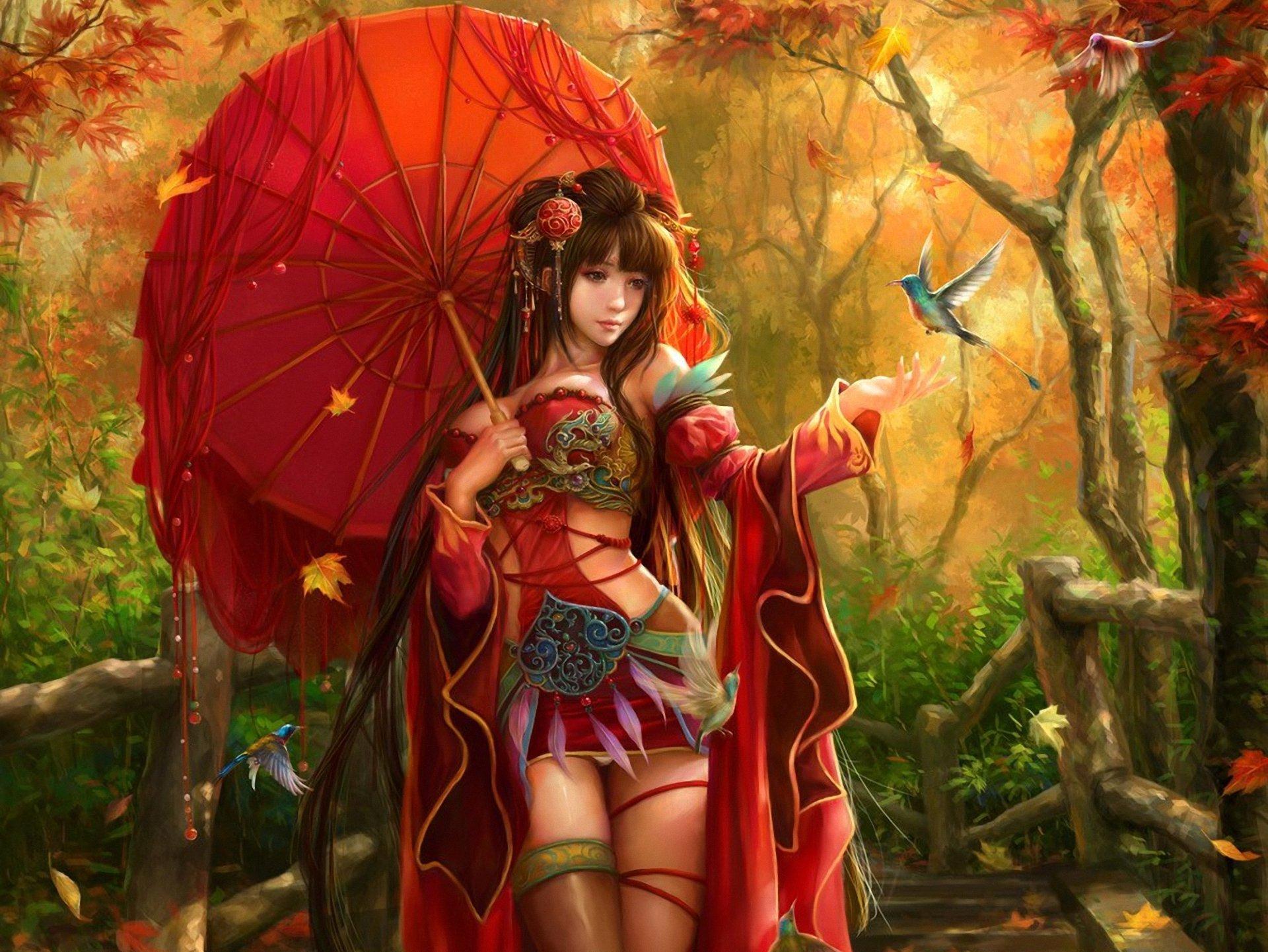 С зонтиком в лесу  № 3394203 загрузить