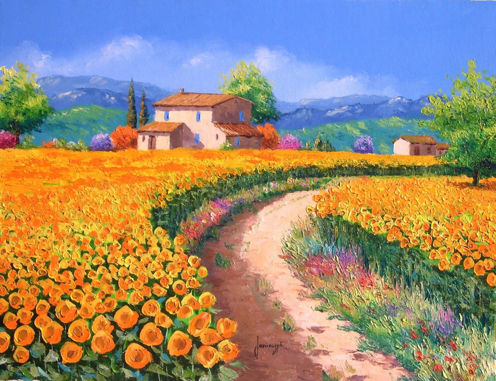 Как нарисовать цветочное поле