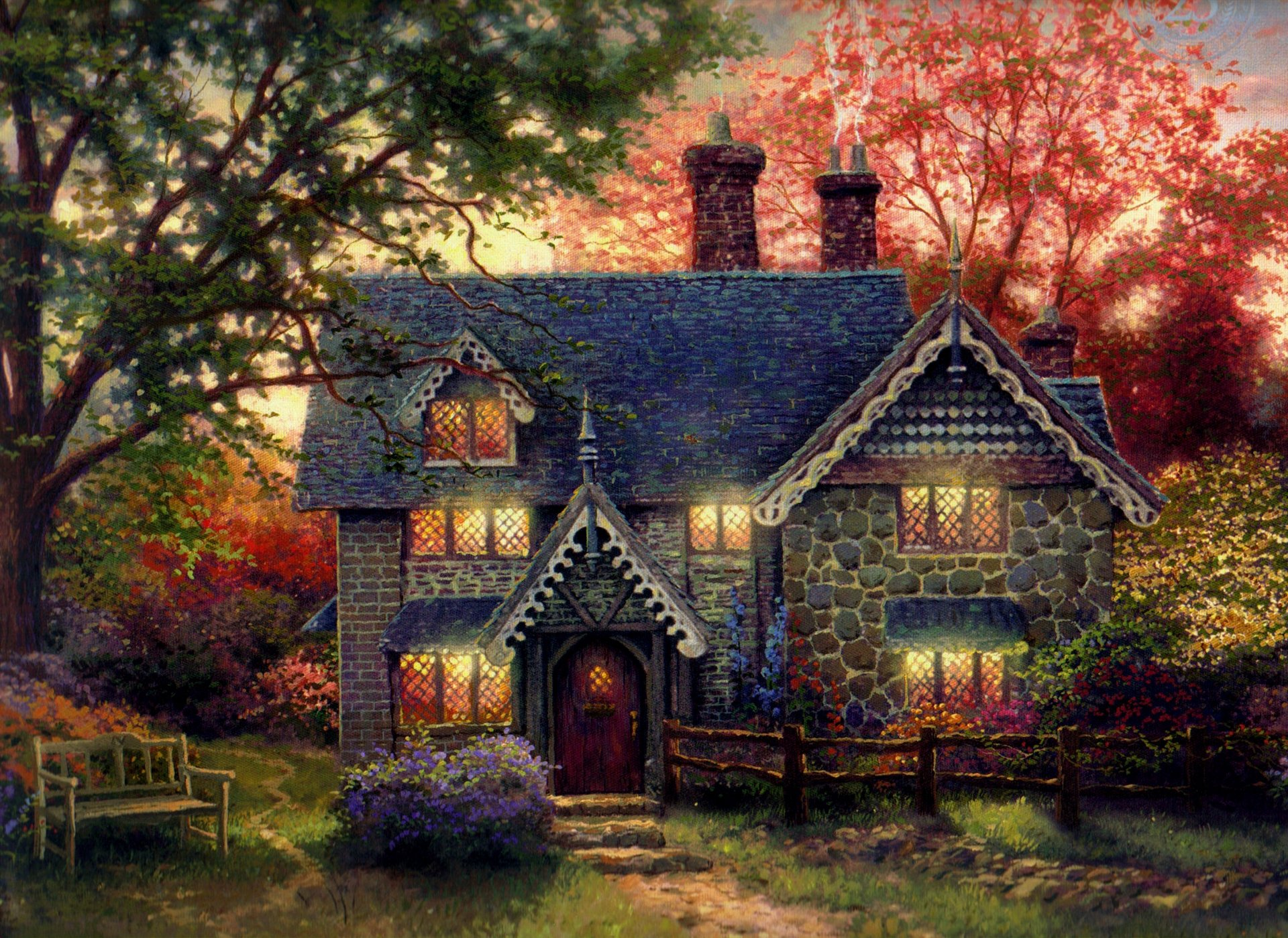 Марта цветной, домики кинкейда картинки
