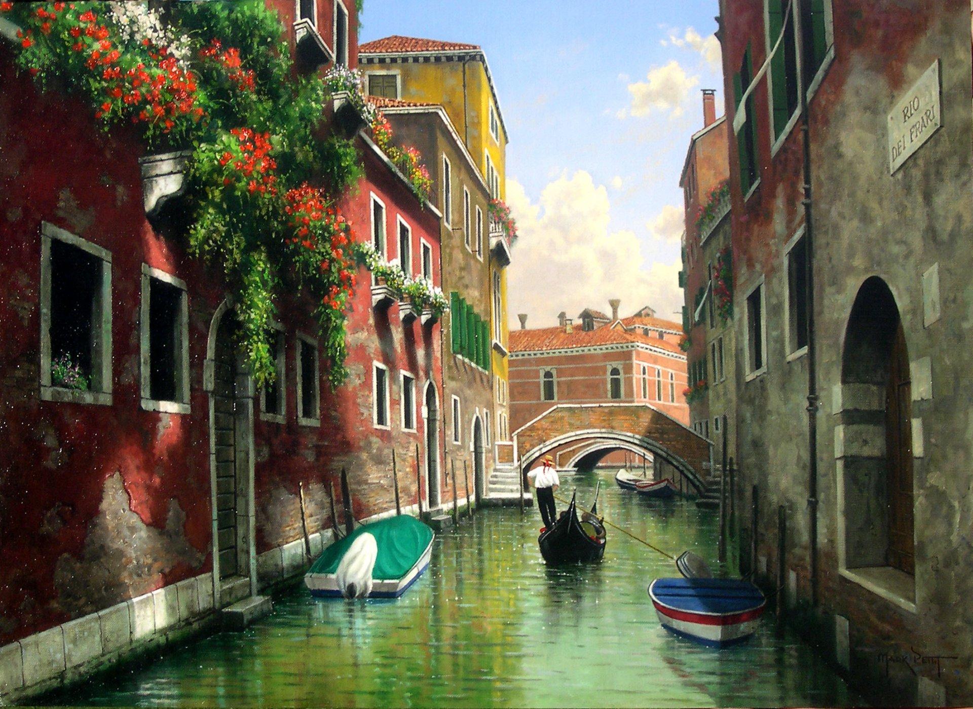 Обои канал, лодки, венеция, мосты, дома, улицы. Города foto 8