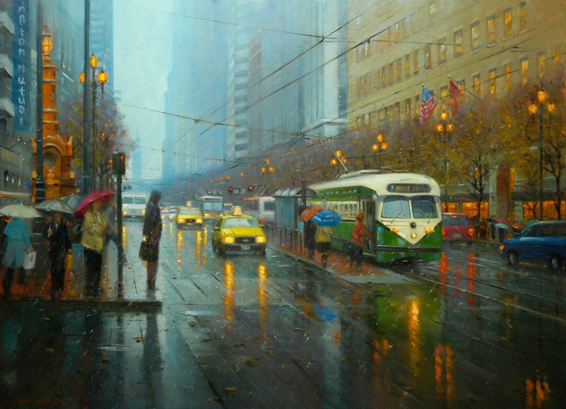 Обои трамвай, люди, улица, дома. Города foto 17