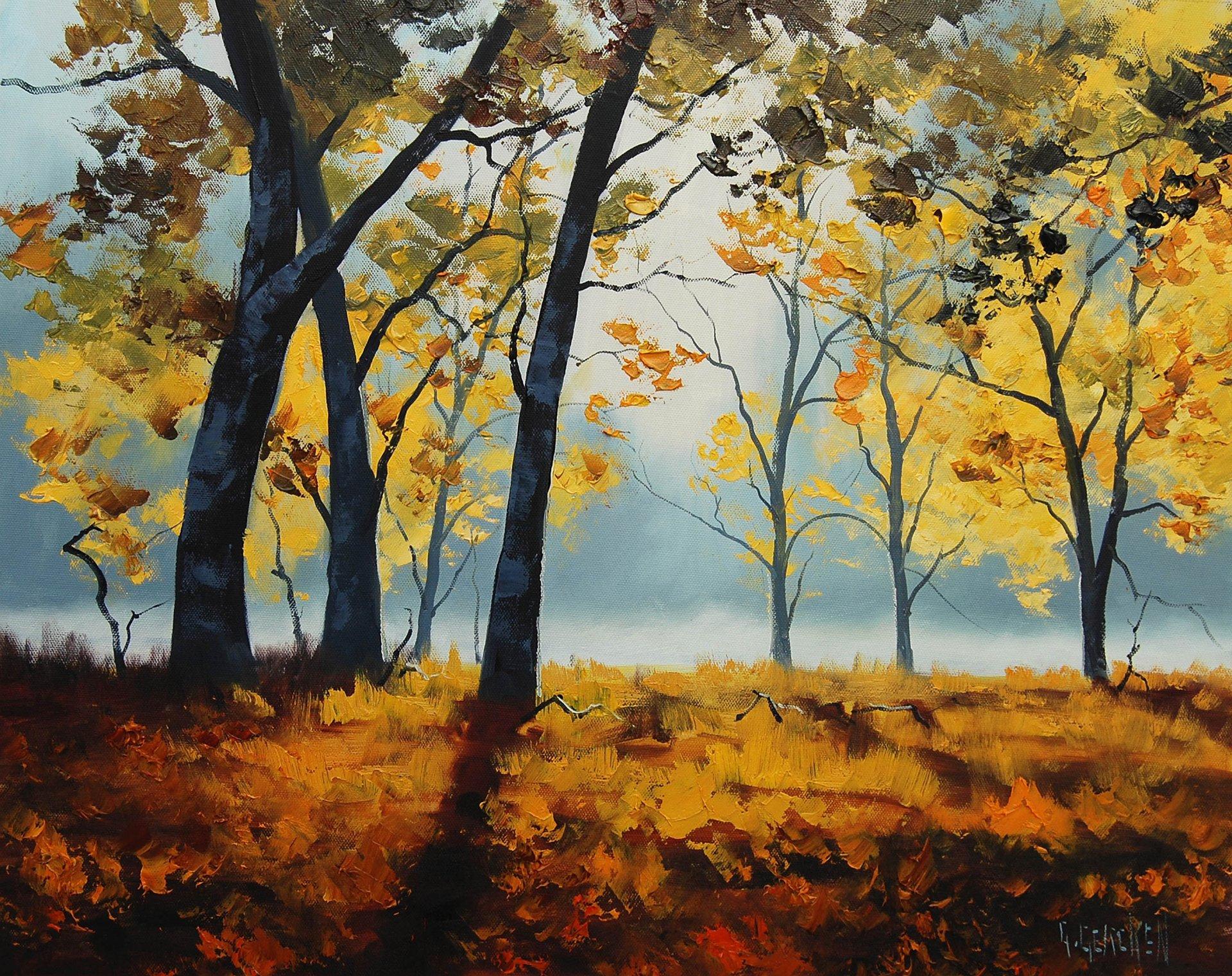 Осенний лес картинки нарисовать